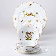 Herend porcelain Place Setting 5 Pieces – Herend Rothschild Bird – ROdesign. The Place Setting contains the following porcelain items:  1 pc – Serving / Dinner Plate – diam 28 cm (11″D)527-0-00 RO  1 pc – Dessert Plate – diam 21 cm (8.25″D) 519-0-00 RO  1 pc – Salad / FruitBowl– vol3 […] Dinner Sets, Place Settings, Dinner Plates, Fine China, Wedding Gifts, Tea Cups, Porcelain, Salad, Dessert