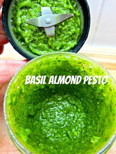 Basil Almond Pesto @Amy Kennedy lets rock this recipe this summer!