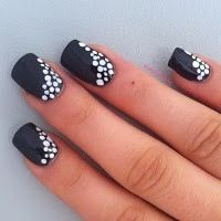 Simple but elegant black and white nail art