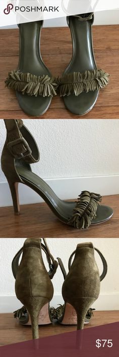 """Joie Pippi Suede Fringe Sandals Joie Pippi suede sandals in army green. Worn twice, only sign of any wear is on the sole on the underside and that is obviously pretty limited.  Lovely and comfy, I just never know what to where them with!  Suede upper Adjustable ankle strap Round open toe Leather lining Cushioned footbed 3¾"""" covered heel Leather sole Joie Shoes Sandals"""