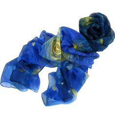 """Starry Night"" Stole Homage to Van Gogh, Crepe Georgette 100% silk (Musée d'Orsay)"