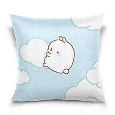 18X 18Molang Rabbit Cotton Velvet Decorative Throw Pillow Cover Cushion Case ** To view further for this item, visit the image link.