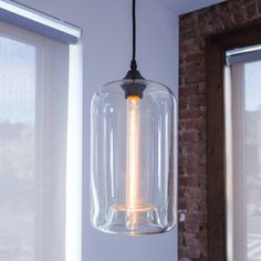 Lights.com | Home & Garden | Ceiling Lights | Windsor Heights Cylinder Glass Pendant with Vintage Bulb