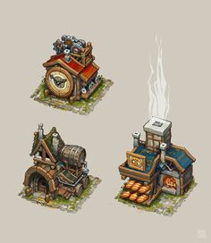 Kid 3d Fantasy, Fantasy House, Fantasy Landscape, Concept Art Alien, Game Concept Art, Isometric Art, Isometric Design, Environment Concept, Environment Design