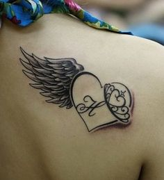 Memorial tattoos design on back of heart with wings.
