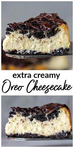 creamiest Oreo Cheesecake topped with chopped cookies and chocolate ganache., The creamiest Oreo Cheesecake topped with chopped cookies and chocolate ganache., The creamiest Oreo Cheesecake topped with chopped cookies and chocolate ganache. Oreo Cheesecake Recipes, Best Cheesecake, Homemade Cheesecake, Biscotti Cheesecake, Oreo Recipe, Cookie Cheesecake, Oreo Dessert Recipes, Recipes With Oreos, Chocolate Oreo Cheesecake Recipe