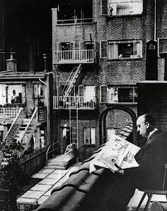Sir Alfred Joseph Hitchcock, KBE (1899 – 1980). Hitchcock on set, Rear Window, 1954. [Pinned 27-v-2015]