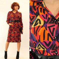 Vintage 80's I MAGNIN GRAFFITI Print DRESS S/M Cotton NEON BATWING SLVS New Wave