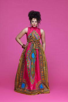 Dasmina African Print Opuwo Maxi Dress| Grass-Fields| Perfect in pink