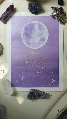 Space Watercolor, Watercolor Moon, Watercolour Painting, Purple Painting, Moon Painting, Painting Inspiration, Art Inspo, Magical Paintings, Moon Art