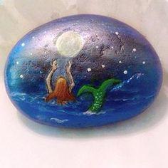 Mermaid Jewlery Box and mermaid art stone Hand Painted Wood Box ! Unique Trinket…