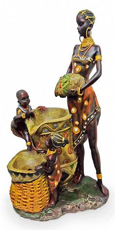 Lady with children African American Art, African Art, African Figurines, Painting For Kids, Children Painting, Clay Art Projects, African Crafts, African Paintings, African Dolls