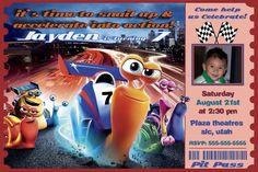 Turbo Invitation - Printable Movie Birthday Party Ticket Invite Custom Personalized Digital Photo Card 4x6