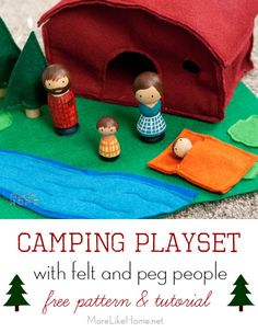 This Camping Playset with felt and peg people is a perfect DIY addition to your Easter baskets!