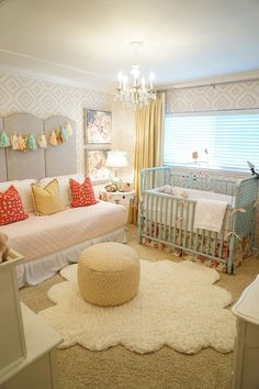 kbgdesign nursery, baby girl, nursery ideas, daybed, painted furniture, wallpaper, crown moulding, drapery