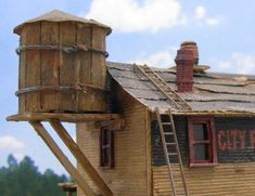 Custom built HO scale structures for sale. HO scale buildings for sale. Ho Scale Buildings, Building Concept, Water Tower, Nightmare On Elm Street, Low Poly, Model Trains, Towers, Scale Models, Miniature
