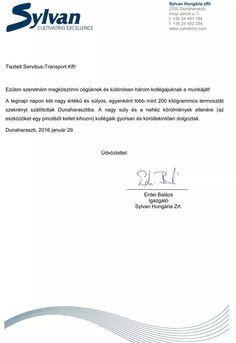 Erdei Balázs igazgató - Sylvan Hungária Zrt. irodaköltöztetés után kapott köszönőlevele
