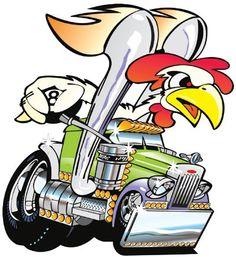 Peterbilt Semi Big Rig Hauler Cartoon T-shirt #1039 Truck'n Rooster