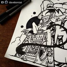 Another amazing black/white sketch by @davebonzai. Thank you for using #graphmastermarker