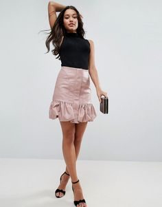 ASOS Bubble Hem Mini Skirt in Leather Look - Pink