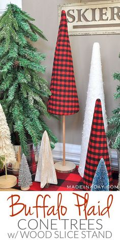 Red Buffalo Check / Plaid Christmas Forest with Cone Tree Stand tutorial, sisal tree, glitter bottle brush tree, woodland snow trees, Outdoor Christmas Decorations, Rustic Christmas, Winter Christmas, Christmas Home, Buffalo Plaid Christmas Ornaments, Buffalo Check Christmas Decor, Christmas Entryway, Christmas 2019, Fabric Christmas Trees