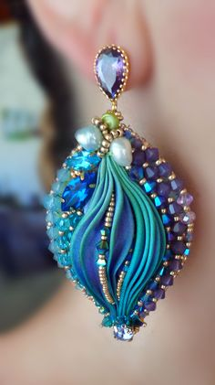 "EARRINGS - bead embroidery, shibori silk, soutache, swarovski. Designed by ""Serena Di Mercione Jewelry"""