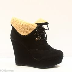 Women's Cute Round Toe Oxford Lace Up Platform Cuff Wedge Bootie Shoes New | eBay