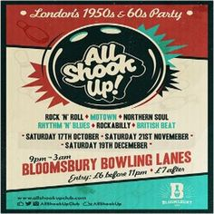 All Shook Up! at Bloomsbury Lanes, Basement of Tavistock Hotel, Bedford Way, London, WC1H 9EU, UK on Nov 21, 2015 to Nov 22, 2015 at 9:00pm to 3:00am This will be our sixth month at the super cool Bloomsbury Bowling Lanes, We can't believe it's been half a year already, it's flown by! Last months ASU was our biggest and best party yet and we're certain Novembers event will be even more fun!! Category: Nightlife Price: Advance £5