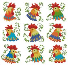 Jacobean Roosters Colorful - Click Image to Close