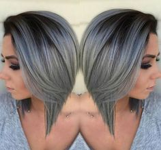 Gray Ombre Bob   Beautiful Silver Ombre Hairstyles For Short Hair