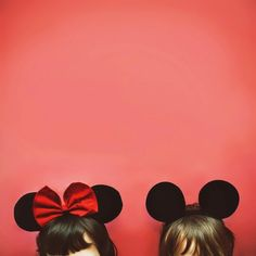 This image is an example of Analogic Code. The ears worn on both of the individuals heads have comparison to Disney's Mickey and Minnie Mouse. Minnie always wears a big bow in the middle of her ears, and Mickey embraces simplicity. Disney Love, Disney Magic, Disney Stuff, Disney Dream, Walt Disney World, Disney Pixar, Disney Bound, Disney Animation, Desu Desu