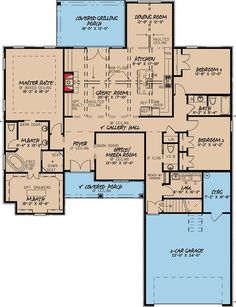 3 Bed House Plan with Brick Exterior and Bonus Over Garage - 70545MK floor plan - Main Level