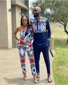 Couples African Outfits, African Attire, African Wear, Printed Pants Outfits, Printed Jumpsuit, African Print Pants, African Print Dresses, African Traditional Wear, Traditional Outfits