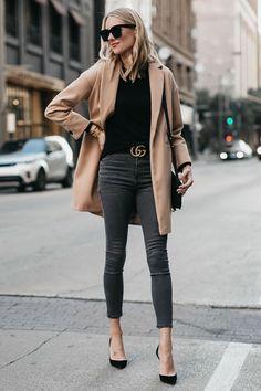 camel coat and grey skinny denim