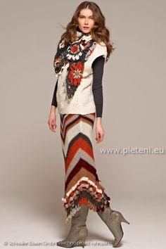 crochet scarf & knit skirt