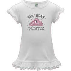 """A-Line Baby Dress - White with pink and white crown studded with printed jewels and sparkles and big number 1. Text says BIRTHDAY PRINCESS. Personalize it to make your little princess feel like royalty on her 1st birthday!  """"A"""" as in the apple of your eye deserves this absolutely adorable a-line dress to wear for birthday parties or just looking cute on a regular day. Double-tiered ruffle at hem, Double lettuce edge with reverse cover stitches at sleeve. 1 X1 baby rib, 100% cotton cotton…"""