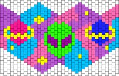 Uchuu by Xsaganx on Kandi Patterns Kandi Mask Patterns, Perler Patterns, Peyote Patterns, Cross Stitch Patterns, Bracelet Patterns, Rave Bracelets, Pony Bead Bracelets, Pony Beads, Pixel Art