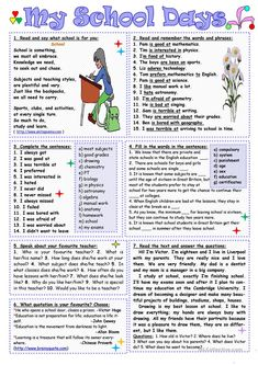 My school days worksheet - free esl printable worksheets mad English Lessons, Learn English, English File, School Worksheets, Printable Worksheets, Free Printable, Reading Comprehension Worksheets, English Reading, Grammar Lessons