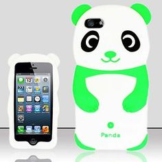 Apple iPhone 4 Animal Cases | APPLE-iPHONE-5-GREEN-EARS-CUTE-PANDA-BEAR-ANIMAL-RUBBER-SKIN-CASE ...