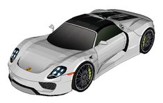 This paper car is a Porsche 918 Spyder, a mid-engined plug-in hybrid sports car designed by Porsche,thepaper model is created by Bhaskar Mistry.The size