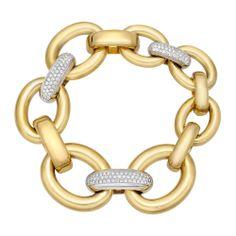 Betteridge Collection 18k Gold  Pavé Diamond Link Bracelet