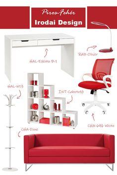 Különleges irodát szeretnél? Szereted a piros és a fehér színeket? Akkor ezt az iroda berendezési ötletet nagyon fogod szeretni ;) Webáruházunk kínálatából most összeállítottunk neked egy igazán egyedi dolgozószoba vagy irodai berendezést. #piros#fehér#white#red#office#officedesign#ideas#officefurniture#sofa#chair#kanapé#ruhafogas#forgószék#íróasztal#desk#polc#shelf#iroda#irodadesign#irodabútor#íróasztalilámpa Ravenna, Bed, Modern, Furniture, Design, Home Decor, Trendy Tree, Decoration Home, Stream Bed