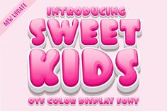 Sweet Kids is a cute, colorful and friendly color font. It embodies playfulness and authenticity and is the perfect choice... Slab Serif Fonts, Handwritten Fonts, Typography Fonts, Font Logo, Typographic Design, Graphic Design Typography, Logo Design, Pretty Fonts, Cool Fonts