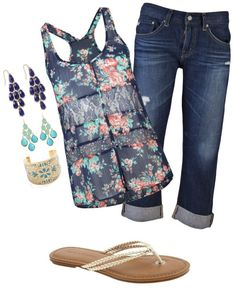 """navy teal and gold casual"" by bayelle on Polyvore"