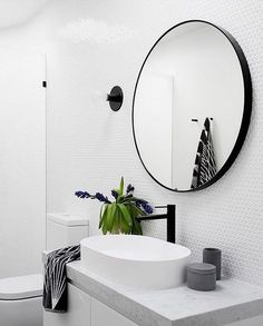 the perfect circular mirror for your bathroom. Black, contemporary and a big statement Photography Martina Gemmola / Interior design GIA Bathrooms and Kitchens Laundry In Bathroom, White Bathroom, Bathroom Faucets, Small Bathroom, Round Bathroom Mirror, Bathroom Pass, Contemporary Bathroom Mirrors, Black Bathrooms, Luxury Bathrooms