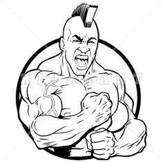 Mascot Clipart Image of A Strong Indian Brave Mascot