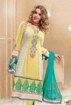 $102.88 Yellow Full Sleeve Georgette Knee Length Punjabi Salwar Kameez 18338