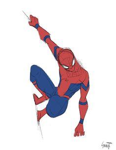 Civil War Spiderman by SANJI SEO - Visit to grab an amazing super hero shirt now on sale! Spiderman Poses, Spiderman Art, Amazing Spiderman, Character Drawing, Comic Character, Character Design, Marvel Art, Marvel Dc Comics, Marvel Avengers