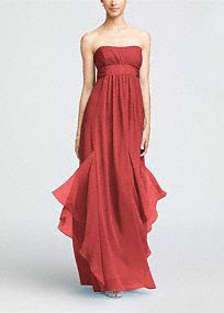 The picture of effortless beauty, this stunning crinkle chiffon dress will look fabulous on any figure in your bridal party!   Strapless bodice features subtle ruching to create texture.  Empire waist is adorned with dazzling beaded detail for addedsparkle.  Godets add fullness to the already flowing chiffon skirt.  Fully lined. Back zip. Dry clean only.  Available in our exclusive21color palette.