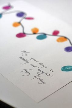 Thumbprint Christmas Light card